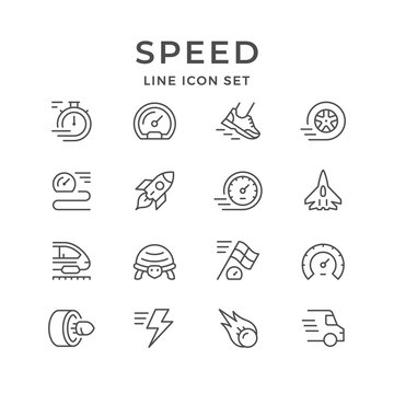Set line icons of speed