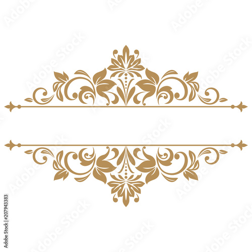 Vintage gold frame on a white background. Graphic vector design ...