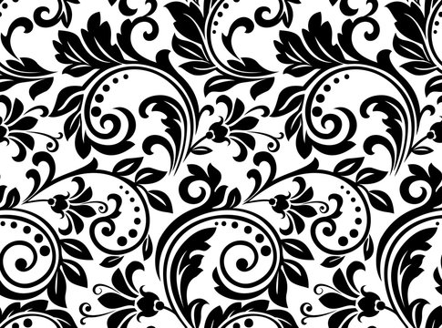 Floral pattern. Wallpaper baroque, damask. Seamless vector background. Black and white ornament