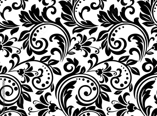 """Black And White Floral Pattern Wallpaper: """"Floral Pattern. Wallpaper Baroque, Damask. Seamless"""