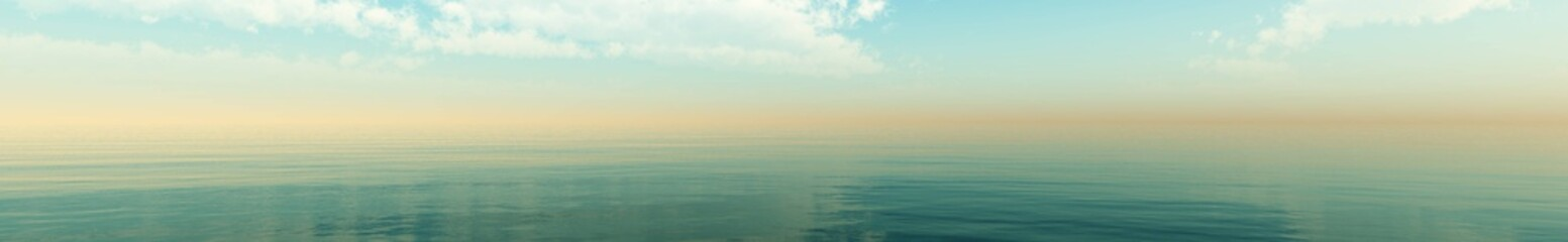 panorama of clouds over the ocean, seascape with clouds, 3D rendering