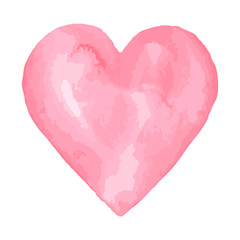 Watercolor brush heart. Pink aquarelle abstract background