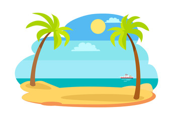 Sun and Recreation on Beach Vector Illustration