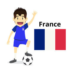 France national team cartoon,football World,country flags. 2018 soccer world,isolated on white background. vector illustration