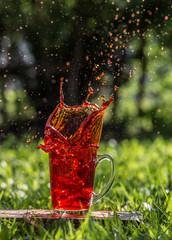 Splash outdoor. Splash in the cup