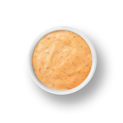 Chipotle Ranch salad dressing and dipping sauce isolated on white