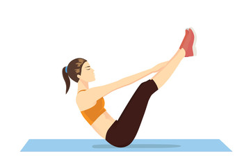 Woman doing abdominal workout with v-ups exercise. Illustration about Bodyweight to get six-pack Abs.