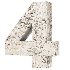The number four - 4 from stone. 3D Render Illustration