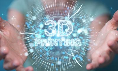 Businesswoman using 3D printing digital hologram 3D rendering