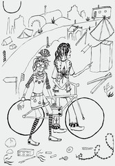 The young travellers with a bike go along the road
