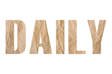 DAILY word with wrinkled paper texture