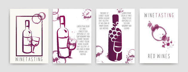 Collection of templates with wine designs. Brochures, posters, invitation cards, promotion banners, menus. Wine stains. CMYK colors. Vector.