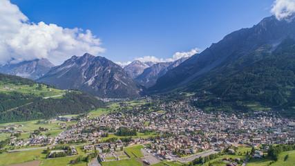 Valtellina, city of Bormio. Panoramic view. Alps