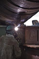 a worker is welding
