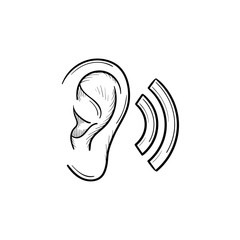Human ear with sound waves hand drawn outline doodle icon. Human ear as a concept of listening and hearing vector sketch illustration for print, web, mobile and infographics isolated on white