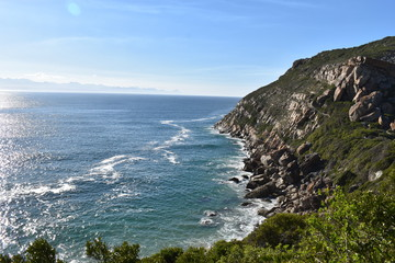 Wonderful landscape with the blue beach at the hiking trail at Robberg Nature Reserve in Plettenberg Bay, South Africa