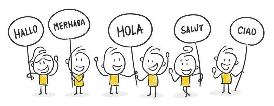 Strichfiguren / Strichmännchen: Hallo, Sprache, Fremdsprache. (Nr. 233)