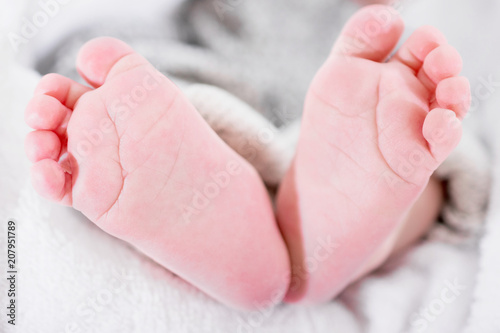 closeup of newborn baby feet template for baby book or baby photo