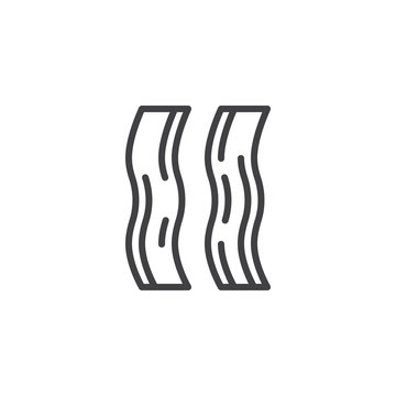 Bacon slice outline icon. linear style sign for mobile concept and web design. bacon strips simple line vector icon. Symbol, logo illustration. Pixel perfect vector graphics