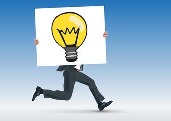 idée - ampoule - concept - conception - créatif - présentation - pancarte - homme - entreprise