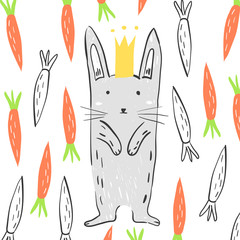 Funny grey rabbit in the crown surrounded by carrots. Illustration about animals for children design. Cartoon style. Happy bunny