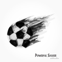 Realistic watercolor painting of powerful football or soccer shot . Artistic and sport concept . Vector for international world championship tournament 2018 . Flat design