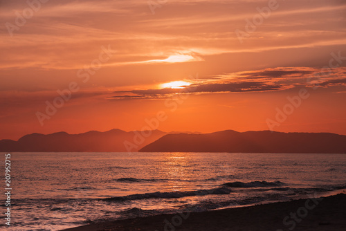 Sunset Over The Sea Backgrounds For Quotes Stock Photo And Royalty