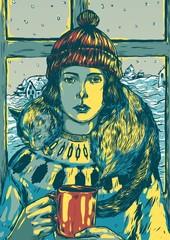 Winter girl drinking hot beverage