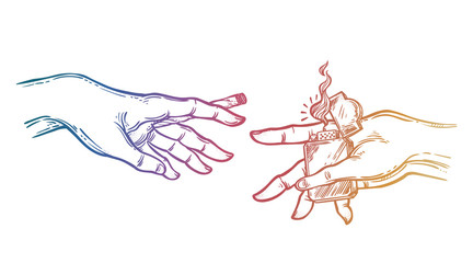 Human hands holding a weed joint or spliff or tabacco cigarette and a lighter.
