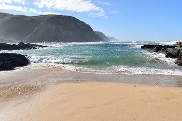 Mountainous Landscape with the beautiful beach at Tsitsikamma National Park in South Africa