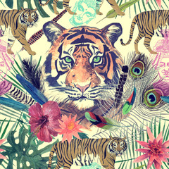 Seamless watercolor pattern with white tigers, elephant, maharajah leaves, flowers.