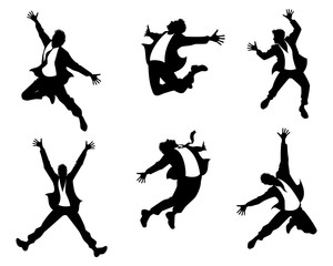 Silhouettes of men in jump