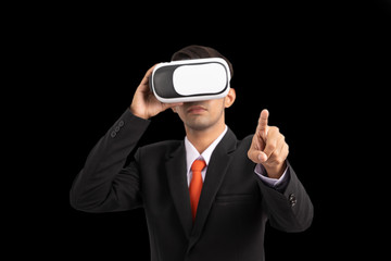 Business, People and future technology concept , Business professional with vr headset pressing virtual button, Businessman in vr goggles isolated on black background