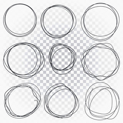 Hand drawn line sketched circles set. Scribble doodle circles for message mark design element.