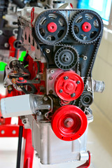 Car engine, concept of modern vehicle motor with metal, chrome, plastic parts, heavy industry, monochrome