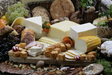 Different types of cheese slices