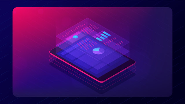 Isometric tablet with cloud analysis app information. Cloud application with charts graphics report data on the screen. Financial cloud app concept in violet color. Vector 3d ultraviolet background