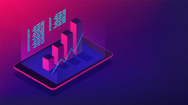 Isometric investment and financial advisory 3d isometric illustration. Tablet with 3d charts graphics of investment statistics in violet color. Financial advisory concept. Ultraviolet background