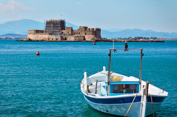 A water fortress in the town Nafplio in Greece