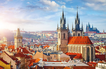 Foto auf Acrylglas Prag High spires towers of Tyn church in Prague city Our Lady