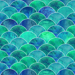 Mermaid scale wave japanese seamless pattern
