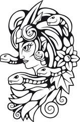 Ancient Greek mythological medusa gorgon character, contour illustration