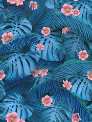 Exotic leaves and pink flowers seamless tropical background for fabric wallpaper. Leaves of monstera and banana palm.