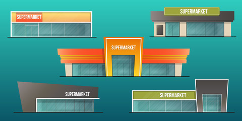 Supermarket buildings set  and local shop isolated vector illustration
