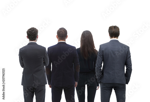 back view group of business people rear view isolated over white