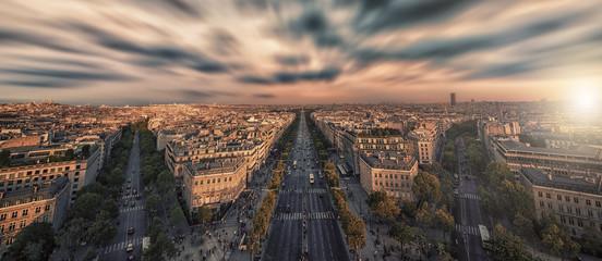 Leinwandbilder - Champs-Elysees avenue at sunset in Paris, France