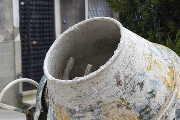 close-up shot of used cement blending machine