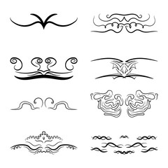 set of vintage dividers for text. Vector graphics. Hand drawing