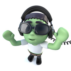 3d Funny cartoon frankenstein monster character wearing headphones to listen to music