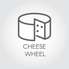 Cheese wheel thin linear icon. Dairy product line label. Natural healthy food outline logo. Vector for grocery stores, menu, price list and other thematic sites and mobile apps